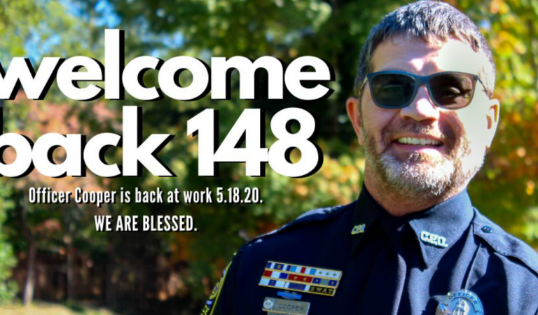 After two years of recovery from a shot to the head, a police officer is back at work